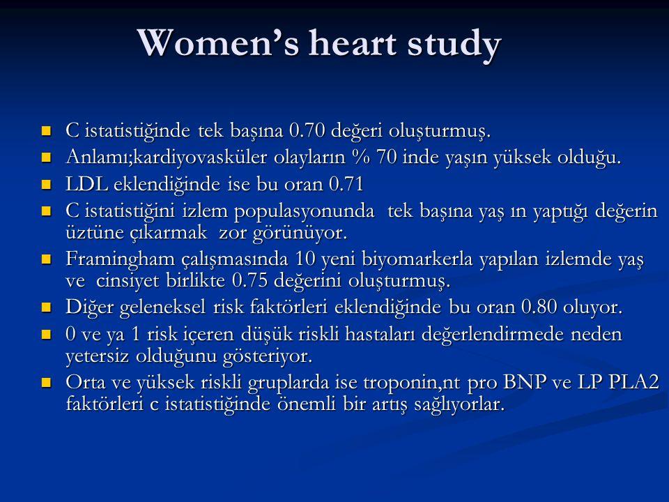 Women's heart study C istatistiğinde tek başına 0.70 değeri oluşturmuş. Anlamı;kardiyovasküler olayların % 70 inde yaşın yüksek olduğu.