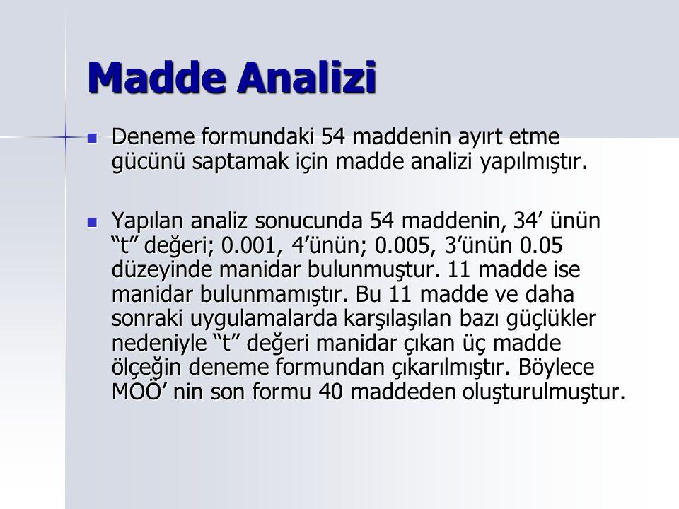 Madde Analizi Deneme formundaki 54 maddenin ayırt etme gücünü saptamak için madde analizi yapılmıştır.