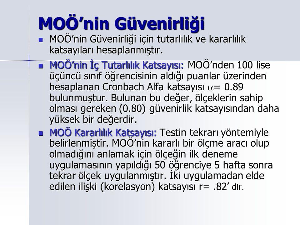 MOÖ'nin Güvenirliği MOÖ'nin Güvenirliği için tutarlılık ve kararlılık katsayıları hesaplanmıştır.
