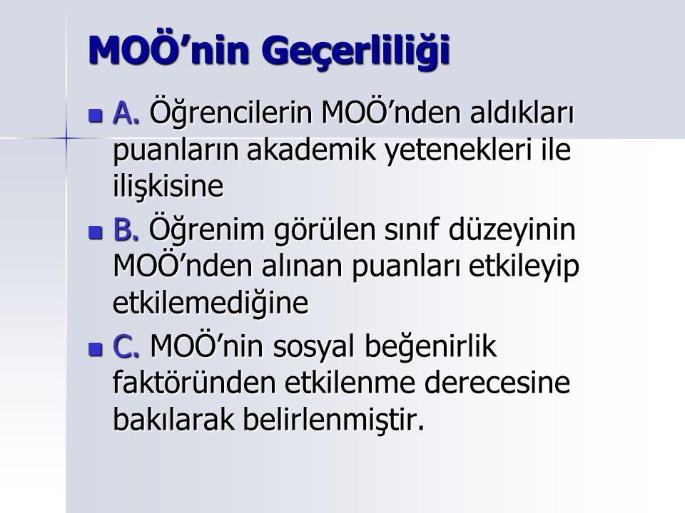 MOÖ'nin Geçerliliği A. Öğrencilerin MOÖ'nden aldıkları puanların akademik yetenekleri ile ilişkisine.
