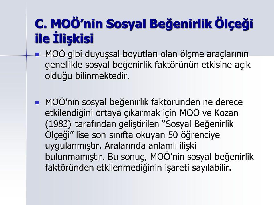 C. MOÖ'nin Sosyal Beğenirlik Ölçeği ile İlişkisi