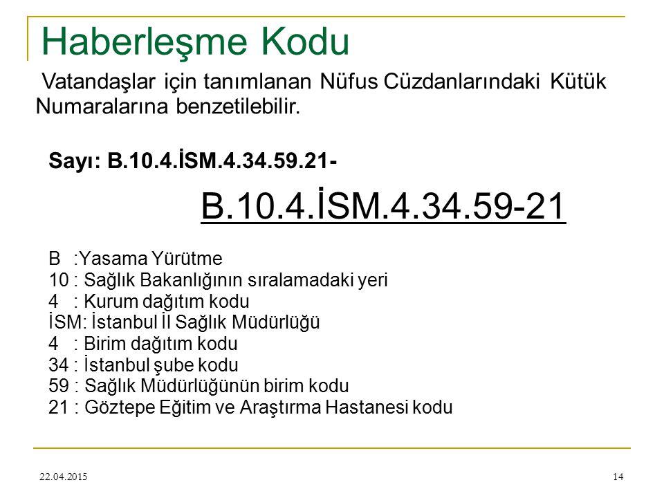 Haberleşme Kodu Vatandaşlar için tanımlanan Nüfus Cüzdanlarındaki Kütük Numaralarına benzetilebilir.