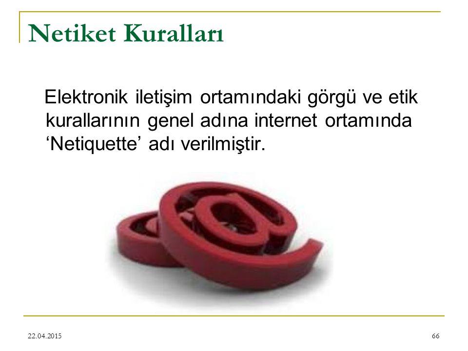 Netiket Kuralları Elektronik iletişim ortamındaki görgü ve etik kurallarının genel adına internet ortamında 'Netiquette' adı verilmiştir.