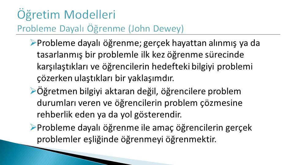 Öğretim Modelleri Probleme Dayalı Öğrenme (John Dewey)