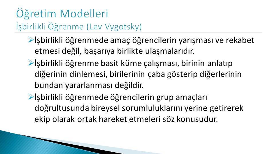 Öğretim Modelleri İşbirlikli Öğrenme (Lev Vygotsky)