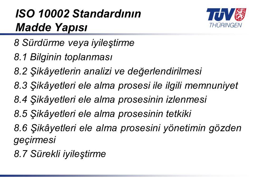 ISO 10002 Standardının Madde Yapısı