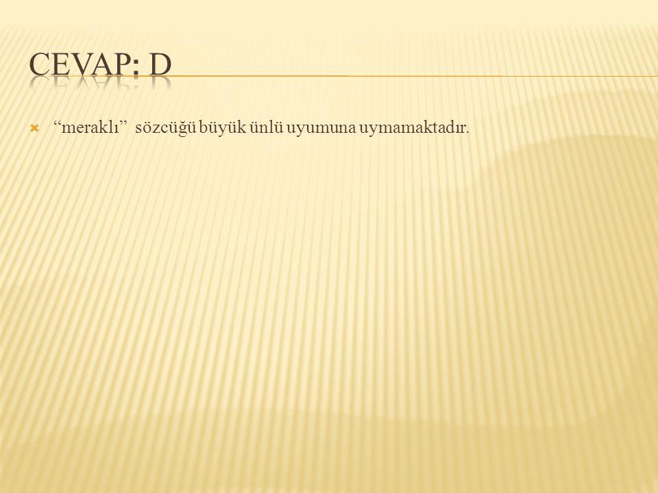 CEVAP: D meraklı sözcüğü büyük ünlü uyumuna uymamaktadır.