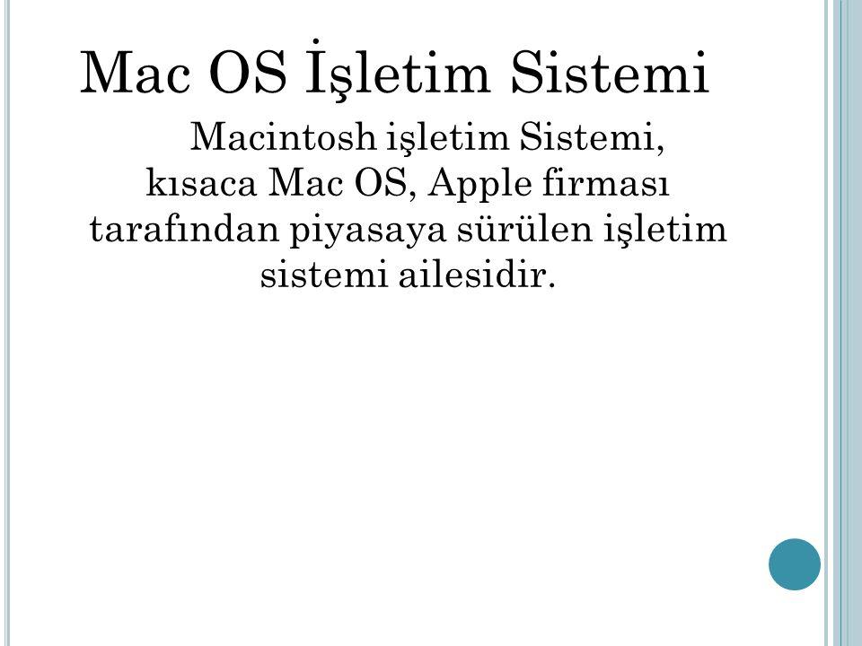 Mac OS İşletim Sistemi Macintosh işletim Sistemi, kısaca Mac OS, Apple firması tarafından piyasaya sürülen işletim sistemi ailesidir.