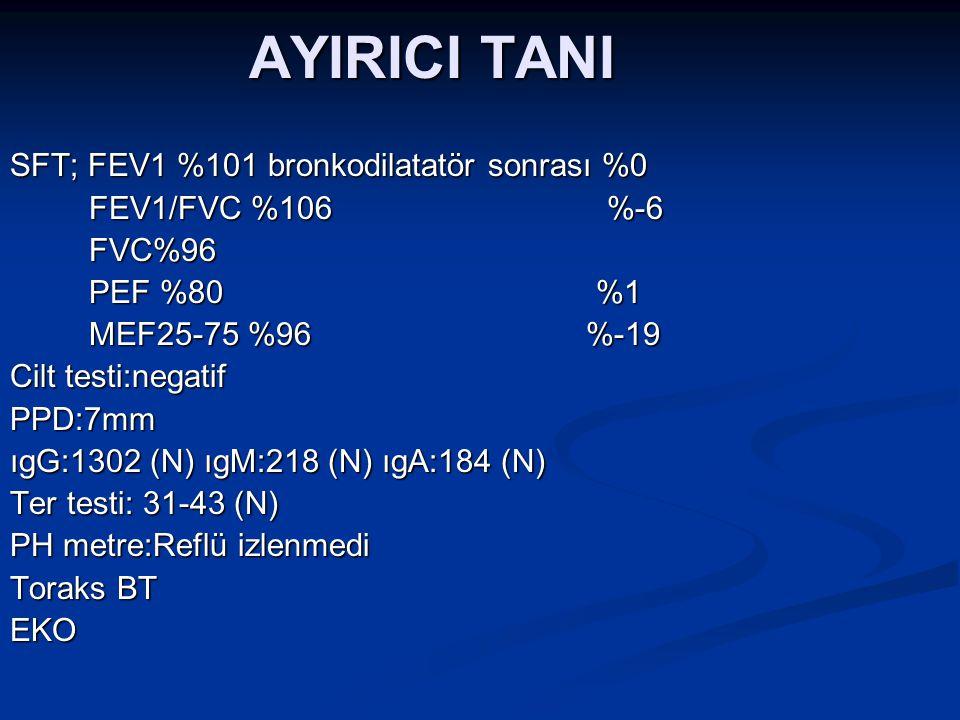 AYIRICI TANI SFT; FEV1 %101 bronkodilatatör sonrası %0