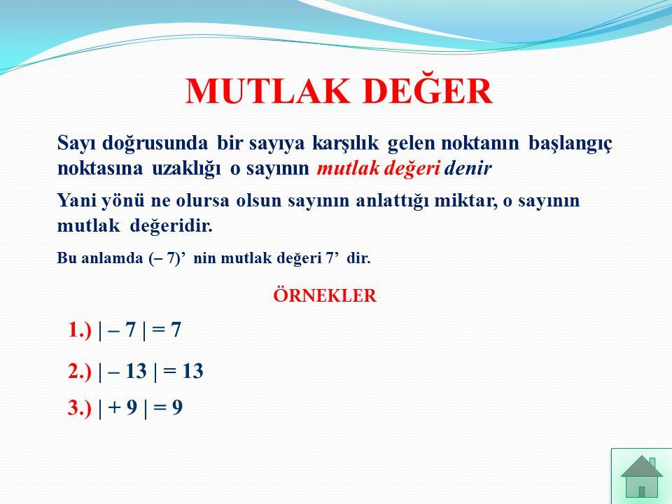 MUTLAK DEĞER 1.) | – 7 | = 7 2.) | – 13 | = 13 3.) | + 9 | = 9