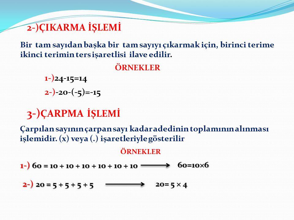 3-)ÇARPMA İŞLEMİ 2-)ÇIKARMA İŞLEMİ 1-)24-15=14 2-)-20-(-5)=-15