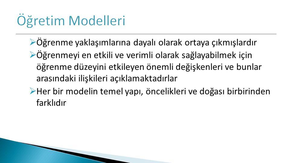 Öğretim Modelleri Öğrenme yaklaşımlarına dayalı olarak ortaya çıkmışlardır.