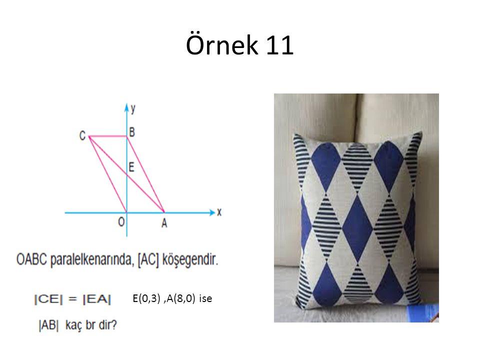Örnek 11 E(0,3) ,A(8,0) ise
