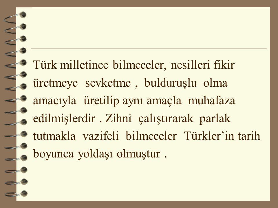 Türk milletince bilmeceler, nesilleri fikir