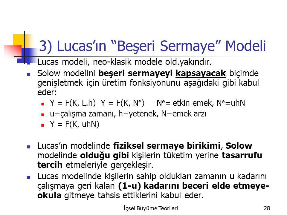 3) Lucas'ın Beşeri Sermaye Modeli