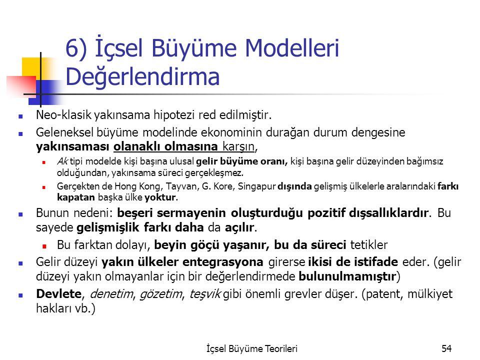 6) İçsel Büyüme Modelleri Değerlendirma