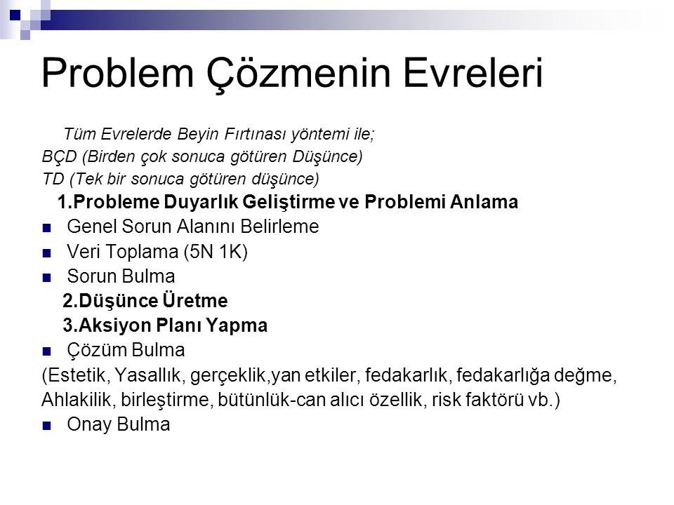 Problem Çözmenin Evreleri