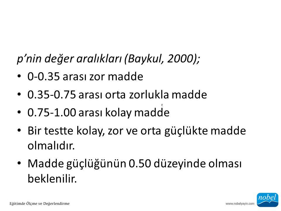 p'nin değer aralıkları (Baykul, 2000);