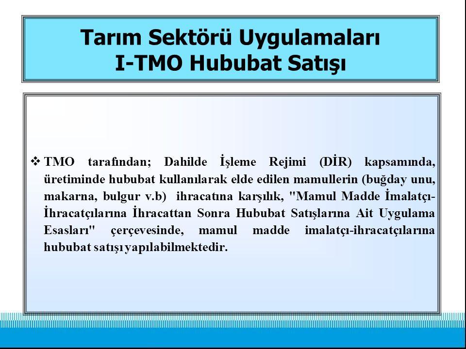 Tarım Sektörü Uygulamaları I-TMO Hububat Satışı