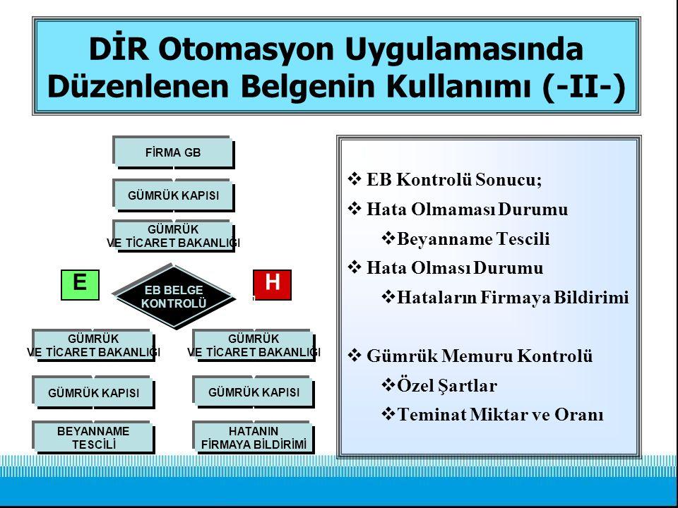 DİR Otomasyon Uygulamasında Düzenlenen Belgenin Kullanımı (-II-)