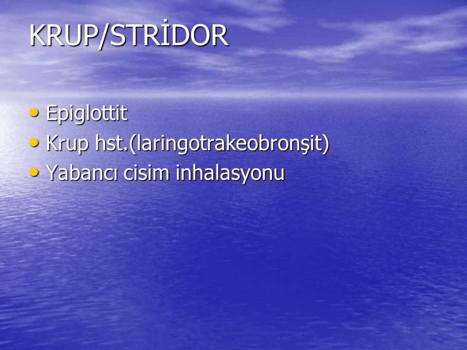 KRUP/STRİDOR Epiglottit Krup hst.(laringotrakeobronşit)