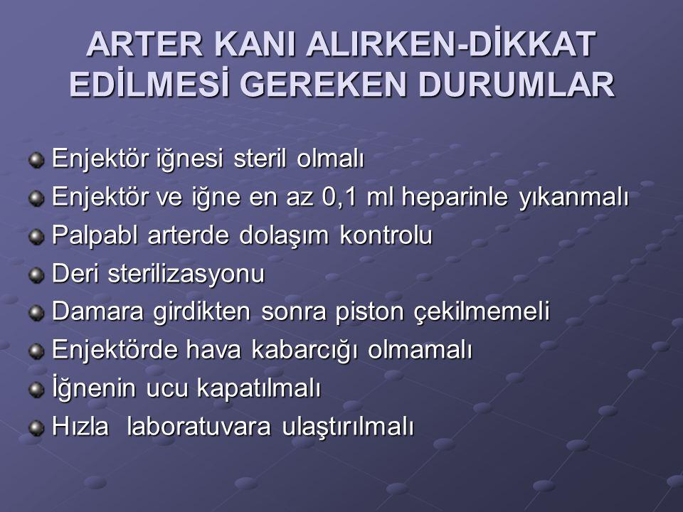 ARTER KANI ALIRKEN-DİKKAT EDİLMESİ GEREKEN DURUMLAR