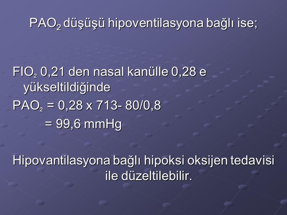 PAO2 düşüşü hipoventilasyona bağlı ise;