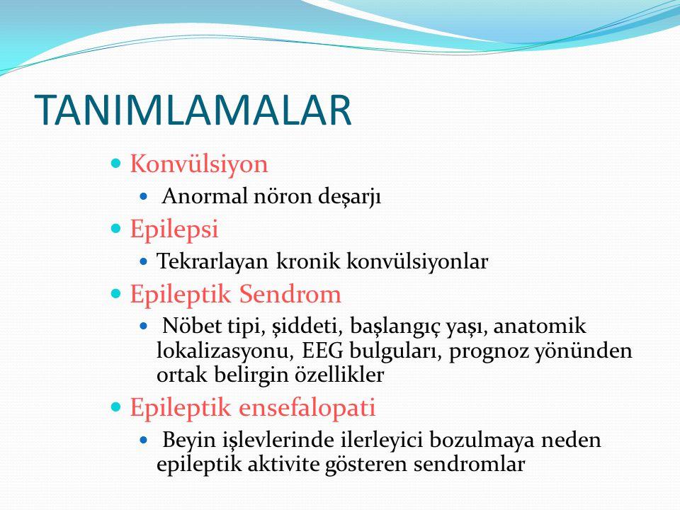 TANIMLAMALAR Konvülsiyon Epilepsi Epileptik Sendrom