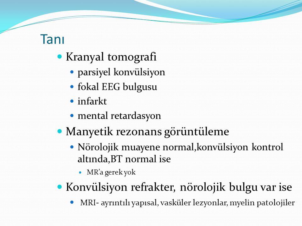 Tanı Kranyal tomografi Manyetik rezonans görüntüleme