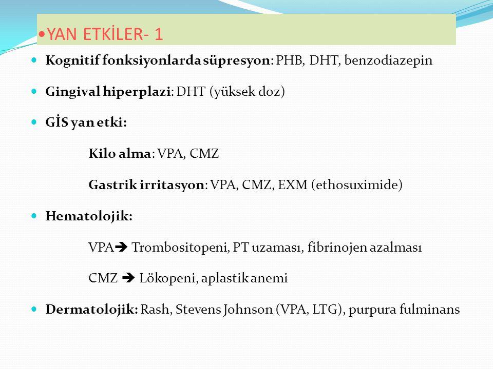 YAN ETKİLER- 1 Kognitif fonksiyonlarda süpresyon: PHB, DHT, benzodiazepin. Gingival hiperplazi: DHT (yüksek doz)
