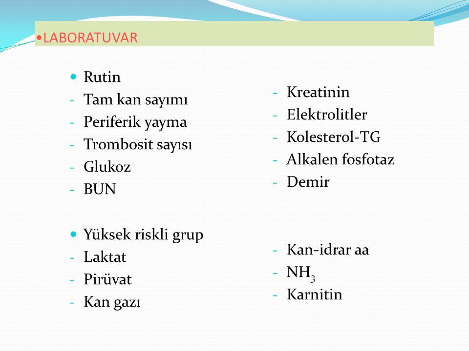 LABORATUVAR Kreatinin. Elektrolitler. Kolesterol-TG. Alkalen fosfotaz. Demir. Kan-idrar aa. NH3.