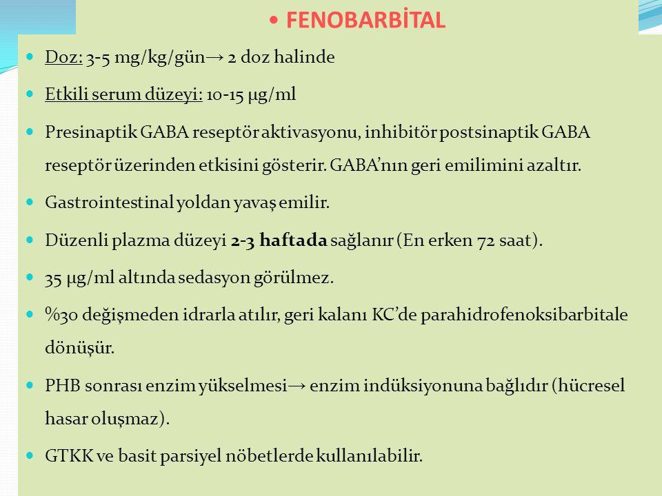 FENOBARBİTAL Doz: 3-5 mg/kg/gün→ 2 doz halinde