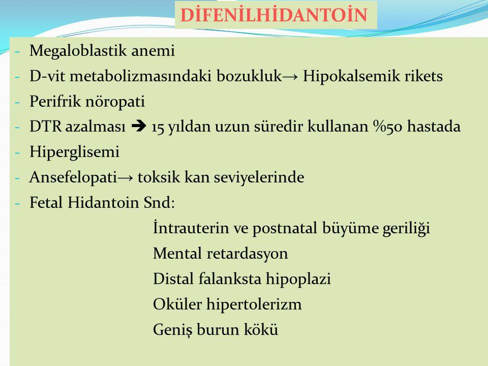 DİFENİLHİDANTOİN Megaloblastik anemi