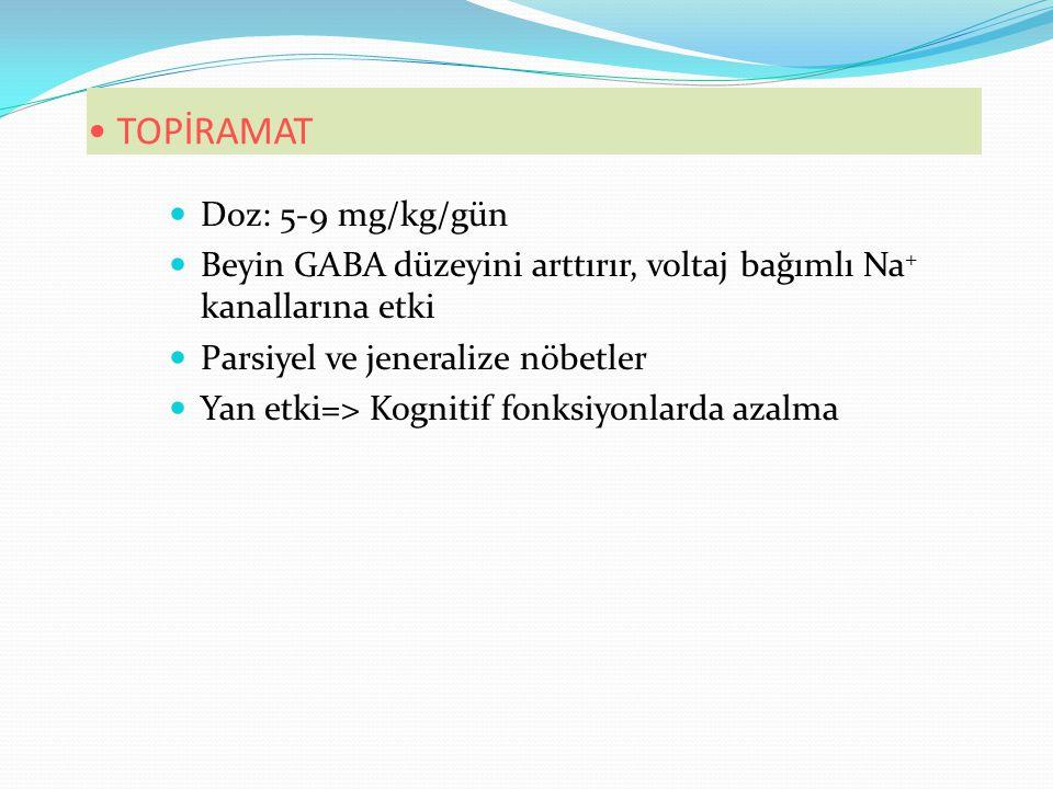 TOPİRAMAT Doz: 5-9 mg/kg/gün