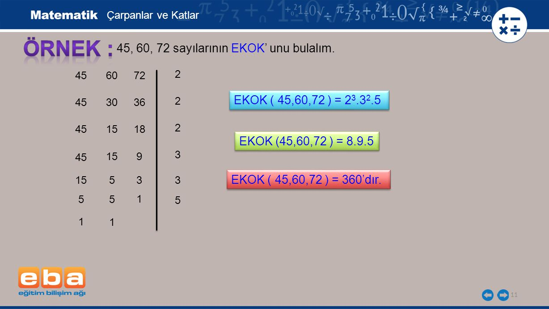 ÖRNEK : 45, 60, 72 sayılarının EKOK' unu bulalım.