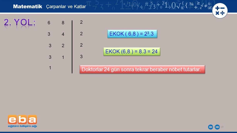 Çarpanlar ve Katlar 2. YOL: 6. 8. 2. 3. 4. 2. EKOK ( 6,8 ) = 23.3. 3. 2. 2. EKOK (6,8 ) = 8.3 = 24.