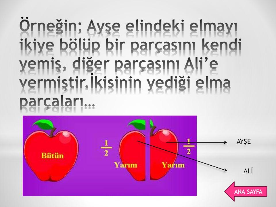 Örneğin; Ayşe elindeki elmayı ikiye bölüp bir parçasını kendi yemiş, diğer parçasını Ali'e vermiştir.İkisinin yediği elma parçaları…
