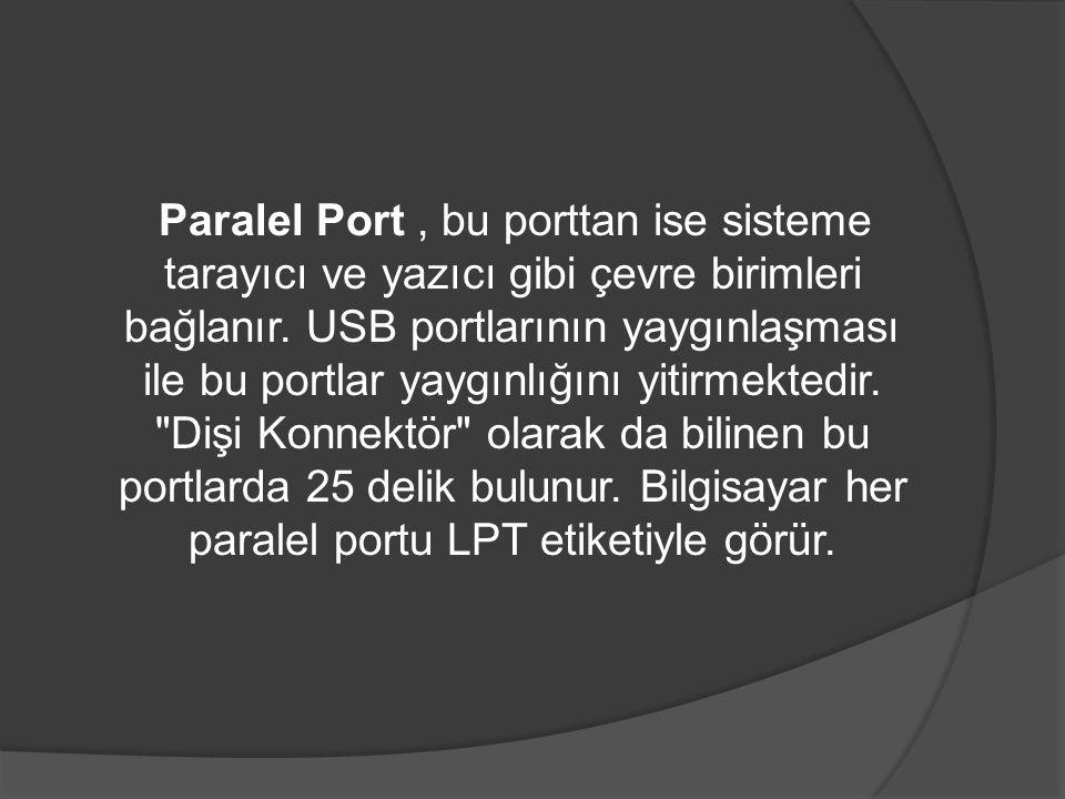 Paralel Port , bu porttan ise sisteme tarayıcı ve yazıcı gibi çevre birimleri bağlanır.