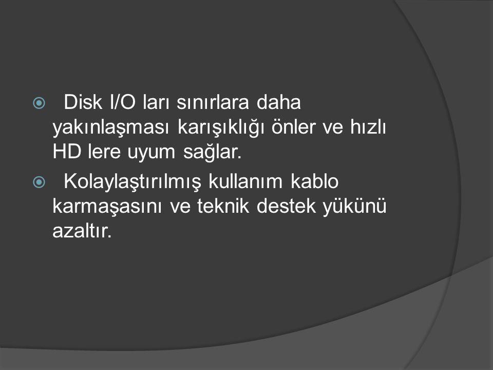 Disk I/O ları sınırlara daha yakınlaşması karışıklığı önler ve hızlı HD lere uyum sağlar.