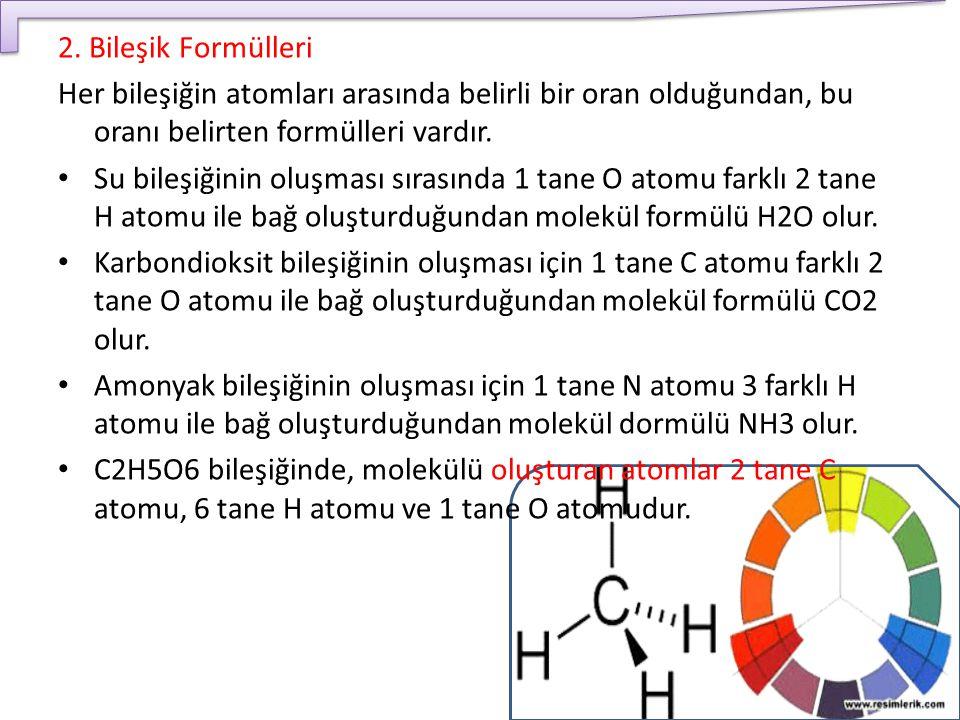 2. Bileşik Formülleri Her bileşiğin atomları arasında belirli bir oran olduğundan, bu oranı belirten formülleri vardır.