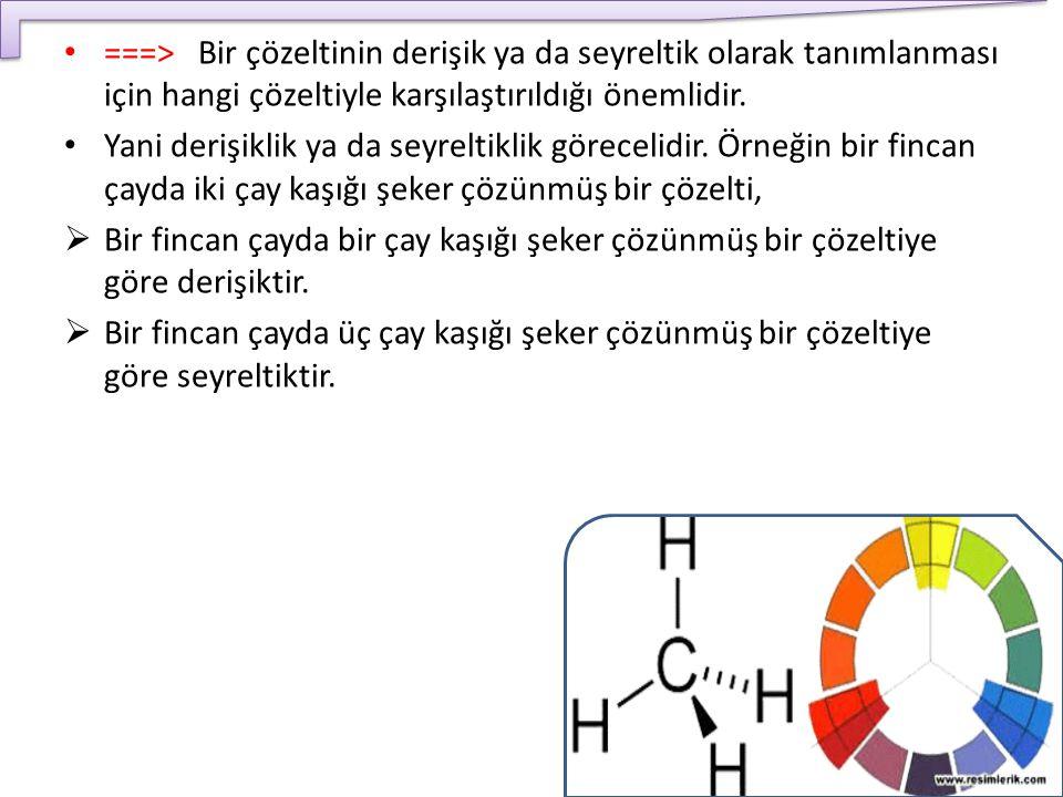 ===> Bir çözeltinin derişik ya da seyreltik olarak tanımlanması için hangi çözeltiyle karşılaştırıldığı önemlidir.
