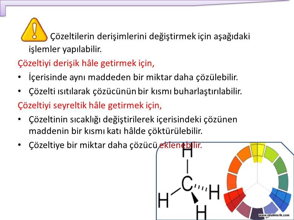 Çözeltilerin derişimlerini değiştirmek için aşağıdaki işlemler yapılabilir.