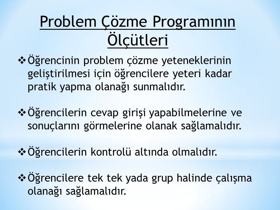 Problem Çözme Programının Ölçütleri
