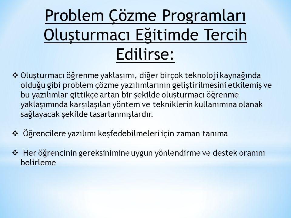 Problem Çözme Programları Oluşturmacı Eğitimde Tercih Edilirse: