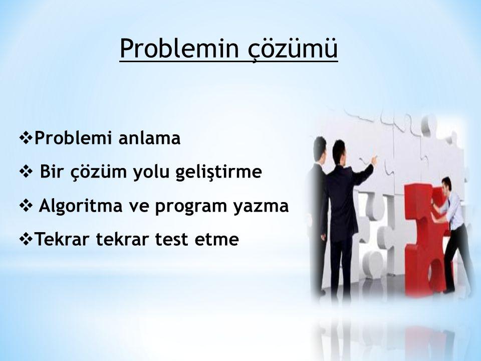 Problemin çözümü Problemi anlama Bir çözüm yolu geliştirme