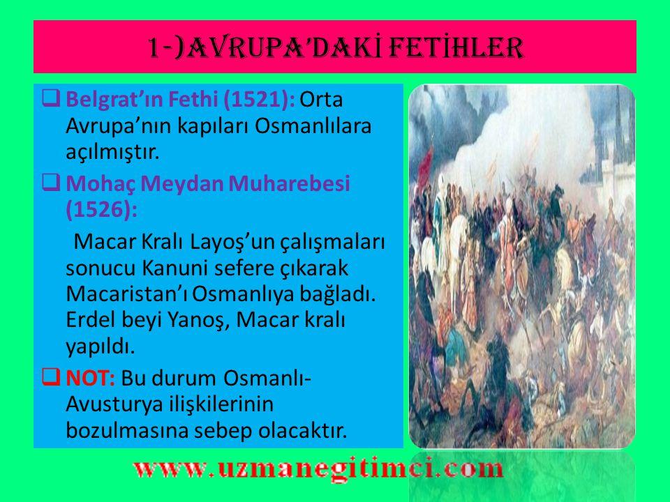 1-)AVRUPA'DAKİ FETİHLER