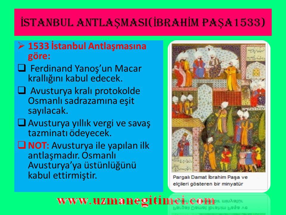 İSTANBUL ANTLAŞMASI(İBRAHİM PAŞA1533)