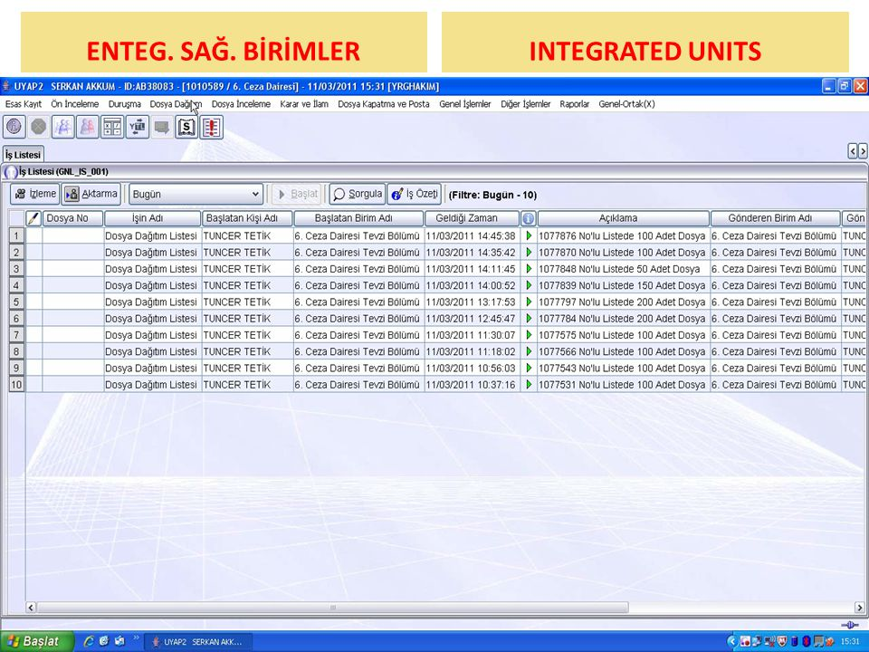 ENTEG. SAĞ. BİRİMLER INTEGRATED UNITS UYGULAMA