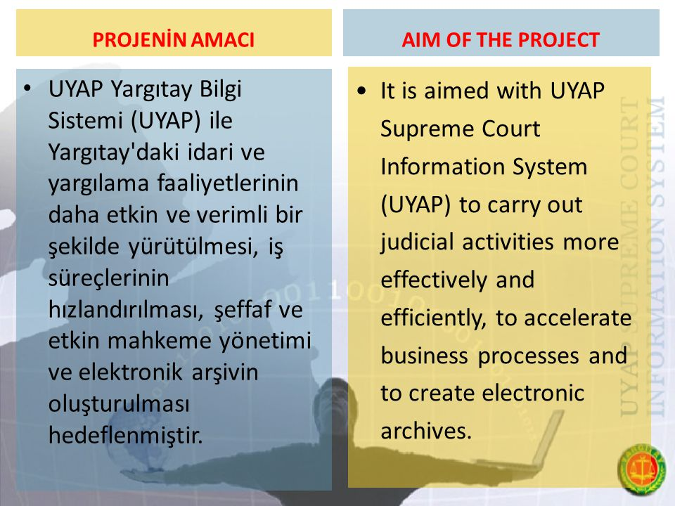 PROJENİN AMACI AIM OF THE PROJECT.