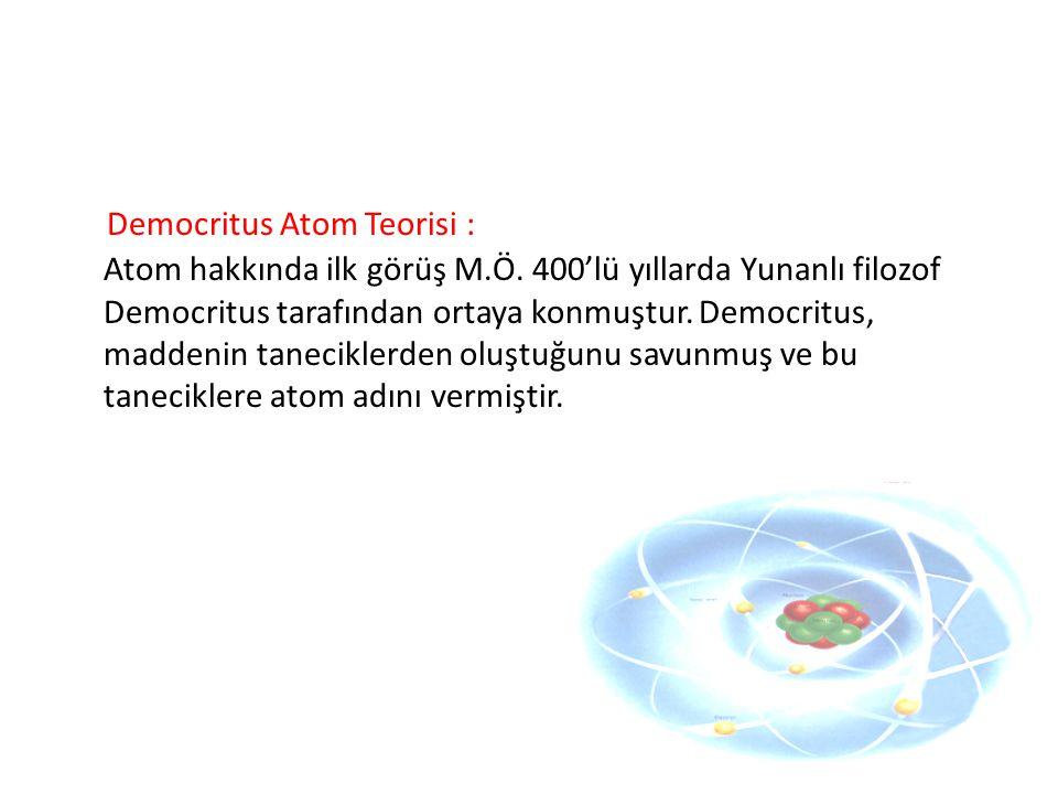 Democritus Atom Teorisi : Atom hakkında ilk görüş M. Ö